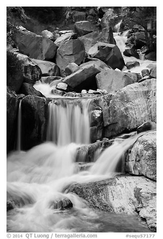 Upper Marble Falls of the Kaweah River. Sequoia National Park (black and white)