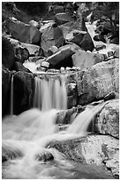Upper Marble Falls of the Kaweah River. Sequoia National Park ( black and white)
