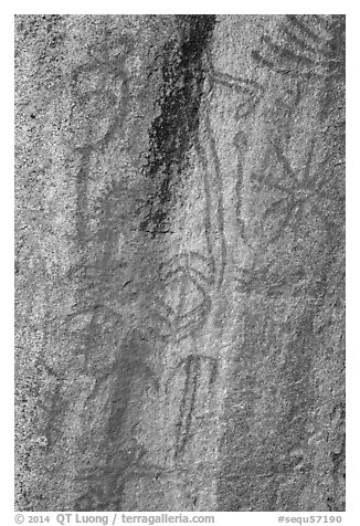 Vivid red pictographs, Hospital Rock. Sequoia National Park (black and white)