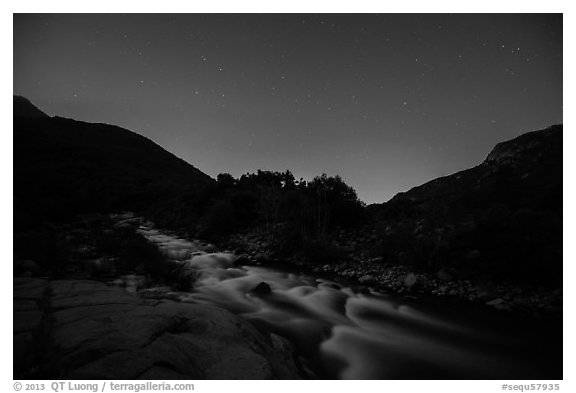 Kaweah River at night. Sequoia National Park (black and white)