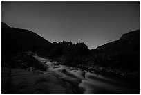 Kaweah River at night. Sequoia National Park ( black and white)