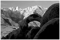 Boulders, Alabama Hills Arch I, Mt Whitney. Sequoia National Park ( black and white)