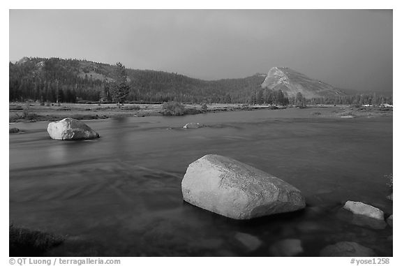 Tuolumne Meadows, Lembert Dome, and rainbow, storm clearing at sunset. Yosemite National Park (black and white)
