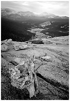 Tuolumne Meadows seen from Fairview Dome, autumn evening. Yosemite National Park, California, USA. (black and white)