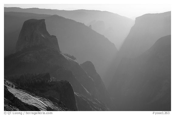 Half-Dome and Yosemite Valley seen from Clouds rest, late afternoon. Yosemite National Park (black and white)