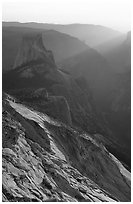 Half-Dome and Yosemite Valley seen from Clouds rest, sunset. Yosemite National Park ( black and white)