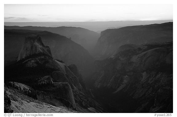 Half-Dome and Yosemite Valley seen from Clouds rest, sunset. Yosemite National Park (black and white)