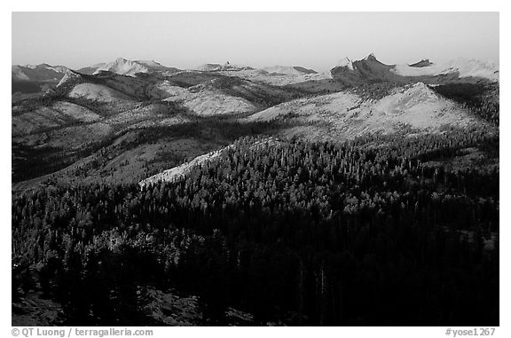 Cathedral Range seen from Clouds Rest, sunset. Yosemite National Park (black and white)