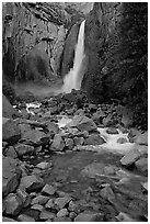 Lower Yosemite Falls, dusk. Yosemite National Park, California, USA. (black and white)