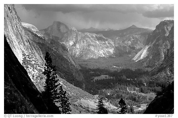View of Yosemite Valley and Half-Dome from Yosemite Falls trail. Yosemite National Park (black and white)