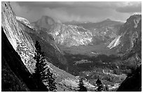 View of Yosemite Valley and Half-Dome from Yosemite Falls trail. Yosemite National Park, California, USA. (black and white)