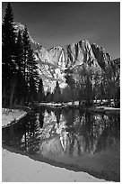 Merced River and Yosemite Falls from Swinging Bridge, winter morning. Yosemite National Park, California, USA. (black and white)