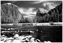 Valley View in winter with fresh snow. Yosemite National Park, California, USA. (black and white)