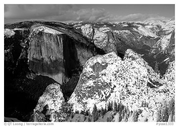 View of  Valley from Dewey Point in winter. Yosemite National Park (black and white)