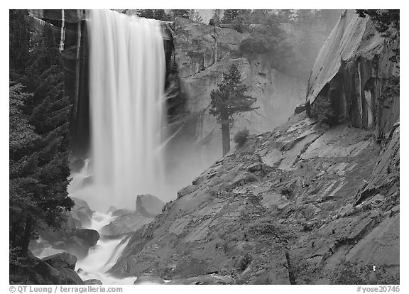 Vernal Fall and wet granite slab. Yosemite National Park (black and white)