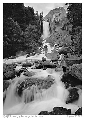 Vernal Fall and downstream cascades. Yosemite National Park (black and white)