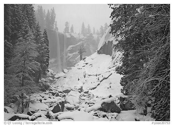 Thin flow of Vernal Fall in winter. Yosemite National Park (black and white)