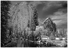 Cathedral rocks and Merced River with fresh snow. Yosemite National Park ( black and white)