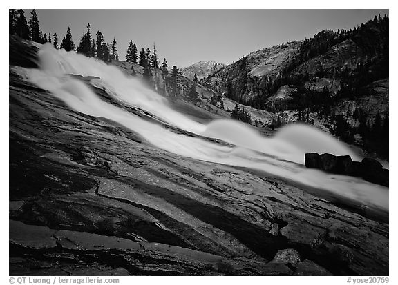 Waterwheels Fall, dusk. Yosemite National Park (black and white)