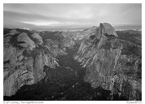 Half-Dome, Tenaya Canyon, and North Dome, sunset. Yosemite National Park (black and white)