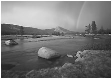 Tuolumne River, Lambert Dome, and rainbow, evening storm. Yosemite National Park, California, USA. (black and white)