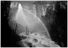 Nevada Falls with rainbow, afternoon. Yosemite National Park ( black and white)