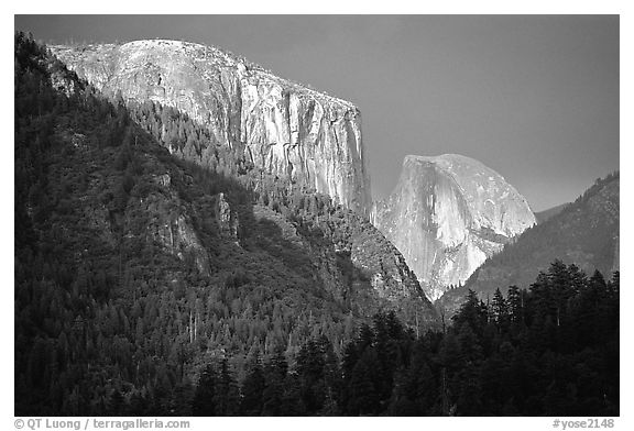 El Capitan and Half Dome viewed from Big Oak Flat Road, afternoon storm light. Yosemite National Park (black and white)