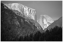 El Capitan and Half Dome viewed from Big Oak Flat Road, afternoon storm light. Yosemite National Park, California, USA. (black and white)