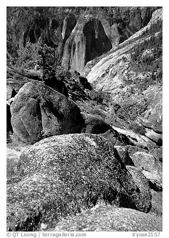 Brothers seen from Eagle Peak. Yosemite National Park (black and white)