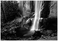 Base of Vernal Falls. Yosemite National Park ( black and white)
