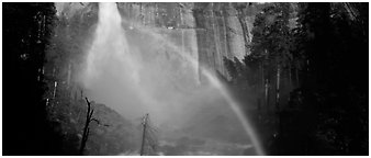 Nevada Fall and rainbow. Yosemite National Park (Panoramic black and white)