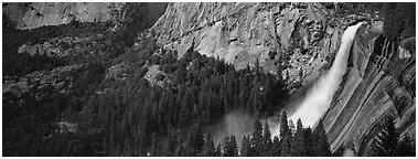 Nevada Fall. Yosemite National Park (Panoramic black and white)