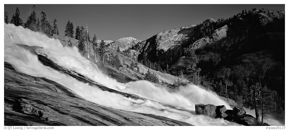 Waterwheel falls in the afternoon. Yosemite National Park (black and white)