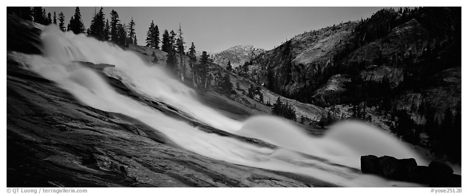 Tuolumne River, waterwheels, and granite slab at dusk. Yosemite National Park (black and white)
