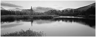 Alpine lake and mountains at sunset. Yosemite National Park (Panoramic black and white)