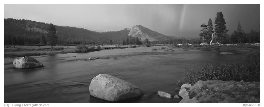 Tuolumne River, Lambert Dome, and rainbow, evening storm. Yosemite National Park (black and white)