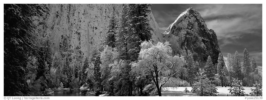 Cathedral rocks in winter. Yosemite National Park (black and white)