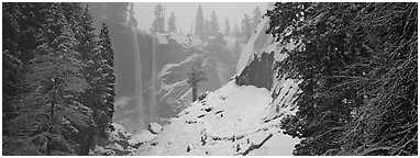 Vernal Fall in winter fog. Yosemite National Park (Panoramic black and white)
