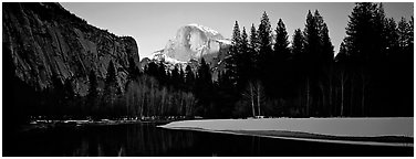 Half Dome sunset in winter. Yosemite National Park (Panoramic black and white)