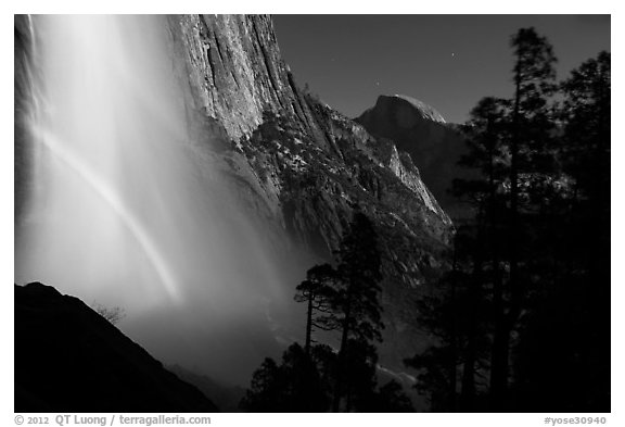 Upper Yosemite Falls with double moonbow and Half-Dome. Yosemite National Park (black and white)