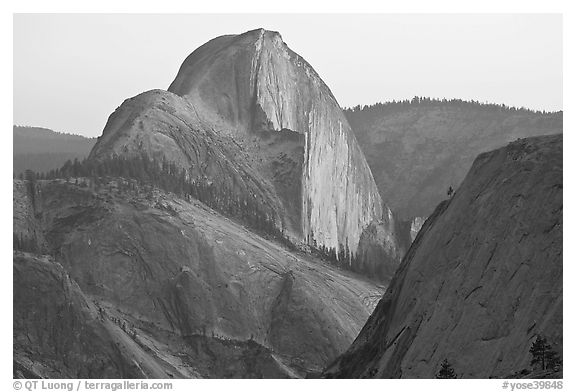 Tenaya Canyon and Half-Dome from Olmstedt Point, sunset. Yosemite National Park (black and white)