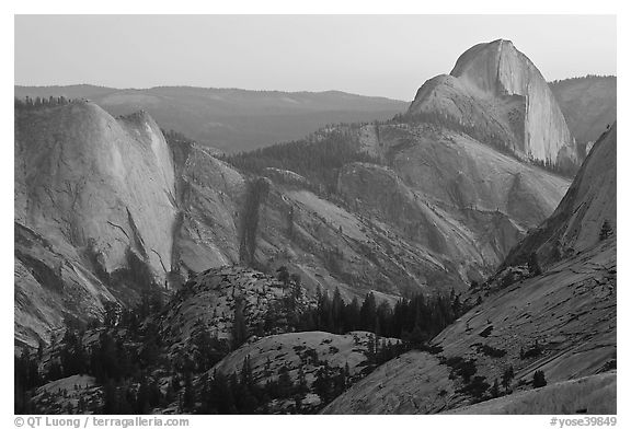 Tenaya Canyon, Clouds Rest, and Half-Dome from Olmstedt Point, sunset. Yosemite National Park (black and white)