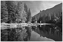 Merced River with fall colors and Sentinel Rocks reflections. Yosemite National Park ( black and white)