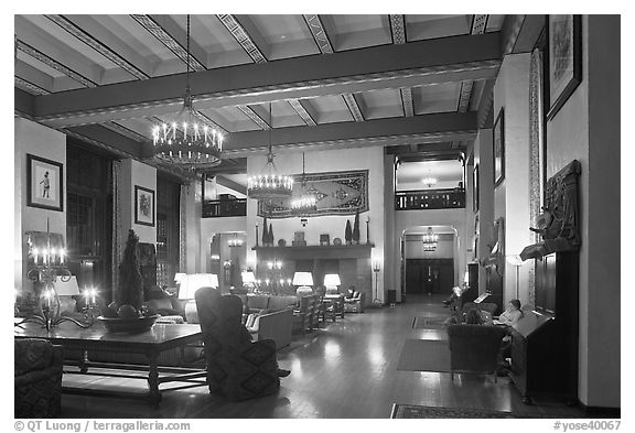 Reading room at night, Ahwahnee hotel. Yosemite National Park (black and white)