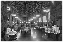 Dinning room at night, Ahwahnee hotel. Yosemite National Park, California, USA. (black and white)