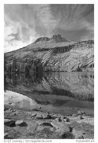 Mount Hoffman reflected in May Lake. Yosemite National Park (black and white)