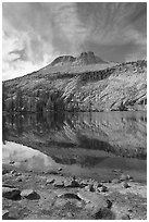 Mount Hoffman reflected in May Lake. Yosemite National Park ( black and white)