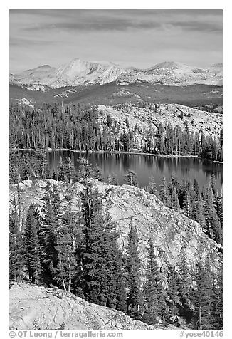 Granite domes and May Lake. Yosemite National Park (black and white)