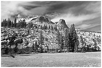 Meadow and Mount Hoffman. Yosemite National Park, California, USA. (black and white)