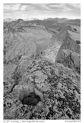 Frozen pot hole and summit cliffs, Mount Hoffman. Yosemite National Park (black and white)